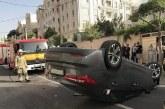 سراتو پس از تصادف با پراید واژگون شد