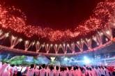 آتش بازی افتتاحیه بازی های آسیایی در جاکارتا اندونزی + تصویر