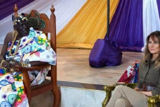 ملانیا ترامپ در کنار شاه قبیلهای در غنا+تصاویر