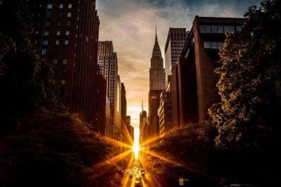 نمایی زیبا از خودنمایی آفتاب از میان برج های نیویورک + تصویر
